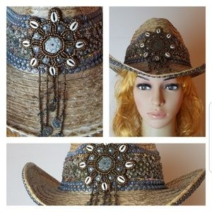 Bling Straw cowgirl hat w sequins beads tassless